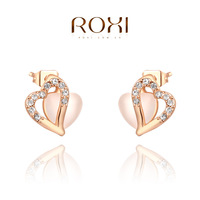 ROXI Christmas heart Stud Earrings ,opals rose gold glated genuine Austrian crystals handmade fashion jewelry,2020053340