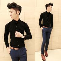 Fashionable casual metal buckle slim long-sleeve shirt male shirt solid color