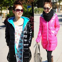 Female medium-long down coat 2013 winter slim with a hood thickening outerwear  Free shipping