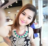 Fashion sparkling diamond sweet color acrylic block necklace fashion necklace cxt99734