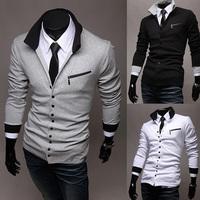 Free shipping New Winter Unique oblique zipper slim Mens Long Sleeve sweater