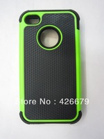 10ps/lot FASHION STYLE HYBRID ARMOR CASE NEW HYBRID ARMOR CASE COVER Soft Silicon Gel Matte Hybrid FOR IPHONE 4s 4 (mix color)