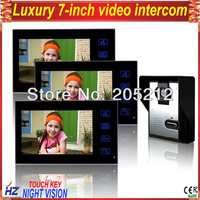 "Free shipping luxury touch key 7"" wired rainproof video doorbell system 1V3 with function of unlocking, night vision"