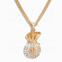 Hip Hop fashion chain crystal Money Bag pendant necklace