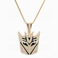 Hip Hop fashion chain crystal Transformer pendant necklace