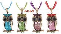 Vintage owl Necklaces 4Color-Mix Retro Crystal Rhinestone owl pendant Necklace with Rope Chain Women men necklaces 10pcs/lot