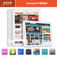 DHL free hot Originla Teclast P98HD  tablet pc Android 4.2  9.7inch 2048*1536 RK3188 1.6GHZ Quad Core 2GB /16GB Dual Cameras mid