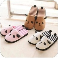 Cotton-padded winter slippers home slippers female at home cartoon lovers stripe platform wool slippers indoor