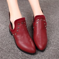 2013 autumn fashion star pointed toe rivet thick heel boots ankle-length boots martin boots  Free Shipping