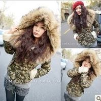 Hot 2013 Winter New Women Korean Fur collar Hooded Sherpa Camouflage Cotton Short Cotton-padded jacket Free shipping