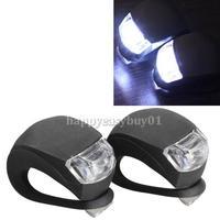 2 Pcs LED Bicycle Light Head Front Rear Wheel Safety Bike Light Lamp Black H1E1