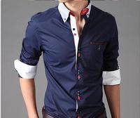Free shipping 2013 high quality autumn new jack fashion stripes collar men Shuangkou long-sleeved shirt Slim shirt men's shirt