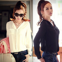 Clothing women fashion blouses shirt  solid color casual loose chiffon blouse female white long sleeve shirt big size camisa