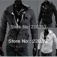 New fashion male autumn coat men's fleece assassins creed fleece jacket,men's Slim Leisure Zipper Jacket Sweater Coat