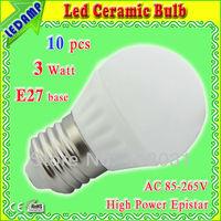 low heat ceramic led globe 3w E27 base light lamp ac 85-265v _ ultra bright 300lm pure white / cool white led light bulbs