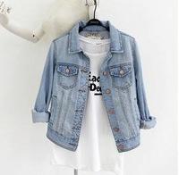 New 2014 Womens Washed Blue Denim Jackets Women Fashion Coat 2014 Plus Size Coat  Denim Jeans Jackets
