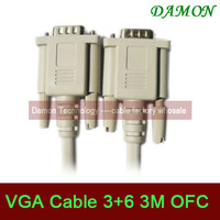 1pcs/lot high quality vga cable 3m male to male 3+6 standard computer monitor projector vga port cable SVGA cable gold plated