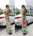 Casual Women Multi-Color Dip Dye Floral Shirred Waist Chiffon Long Cardigan Shirt Blouse Maxi Dress(China (Mainland))