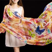 Mulberry silk handmade digital roll-up hem autumn and winter women's long silk scarf