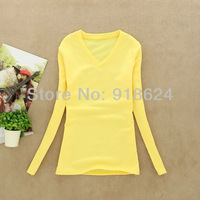 2013 Fashion lady bottoming long sleeve V-neck warm plus velvet shirt 10 colors