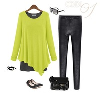 2013 autumn fashion women's irregular skirt fake second pieces loose o-neck long-sleeve cotton one-piece dress