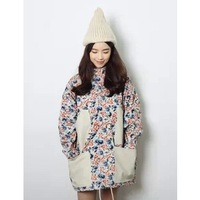 2013 preppy style patchwork pocket drawstring medium-long trench outerwear 1035