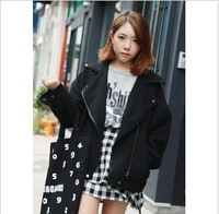 Ulzzang oblique zipper turn-down collar jacket woolen outerwear 1051