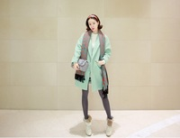 2013 woolen medium-long autumn mint green suit woolen outerwear overcoat 1030
