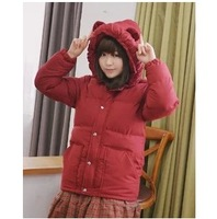 Ears with a hood thermal thickening wadded jacket overcoat outerwear 1056
