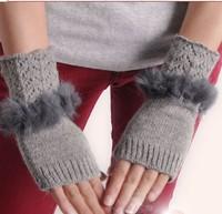 Rabbit fur blending women's autumn and winter thickening semi-finger thermal arm sleeve yarn gloves