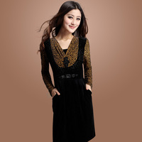 2013 autumn and winter women's one-piece dress elegant leopard print long-sleeve gold velvet 2178 one-piece dress