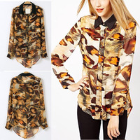 Free Shipping Newest Autumn Fashion HI-LO Leopard Chiffon Blouse Top Long-sleeved Shirt