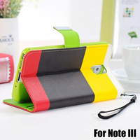 Contrast color For Samsung Galaxy Note3 III Leather case with 3 card Holder fashion case Free Shipping