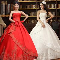2013 bride wedding formal dress slim strap vintage red puff skirt tube top princess