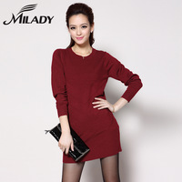 Z2013 plus size clothing long-sleeve o-neck medium-long basic wool sweater one-piece dress 706