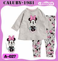 New Style Minnie Cartoon children's Pajamas 100% Cotton Autumn Grey Clothing Set, baby Christmas Sleepwear Free Shipping