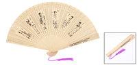 Sandalwood Beige Wintersweet Ancient Chinese People Printed Foldable Hand Fan