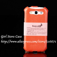Original K-COOL Brand GENUINE Leather Case For Samsung Galay SIII S3 i9300 Vertical Flip Head CowHide Layer Sizing Cover Skin