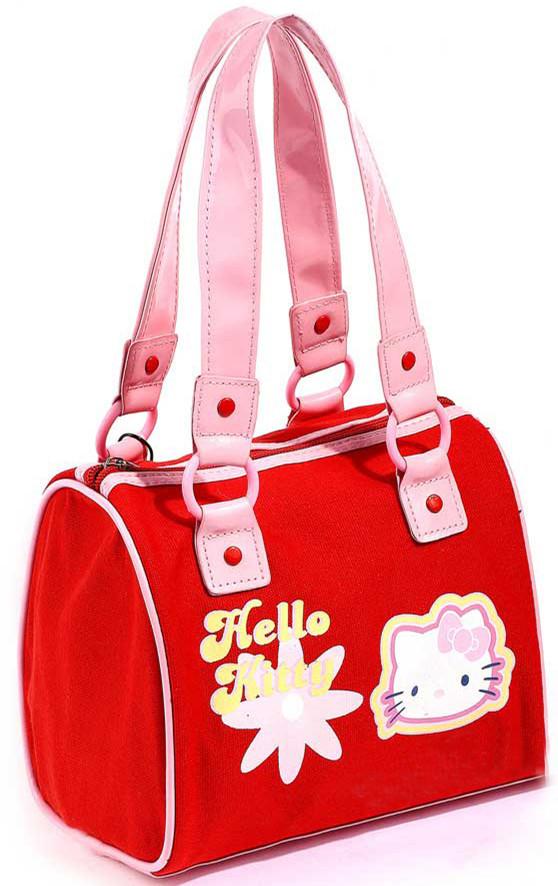 (10 Pcs/Lot) Cute And Fashion Canvas Pu Hello Kitty Women's Totes Handbags,Size 20*16*15 CM,Wholesale(China (Mainland))