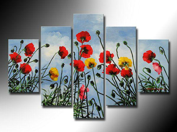 Handmade abctract pintura a óleo vermelho Calla 5 combinação poppy flower Home decor wall art pictures obras de arte pintadas com quadro(China (Mainland))