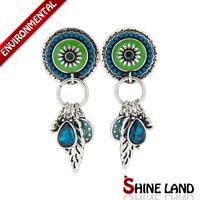 Ethnic Jewelry Women Bohemia Fashion Romantic Multicolor Enamel Beads Crystal Drop Agate Earrings