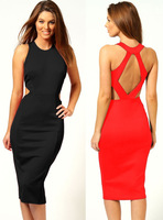 2014 new fashion ladies sleeveless, knee-length,midguts backless one-piece dress,casual dress,pencil dress,free shipping