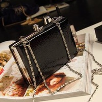 NEW 2013 Korean chain crocodile pattern patent leather wallet candy colored mini evening clutch bag phone holder 14*9cm