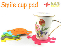 2pcs/lot happy smile face eco-friendly creative round shape silicone pad coaster cute baby Cup mat  Free shipping