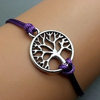 Silver Metal Wish Tree Of Life Charm Purple Cord Bracelet