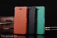 Vintage Luxury genuine leather case for iphone 5 5S,100% cowhide Retro Lichee Pattern Flip cover case to 5g,3 color