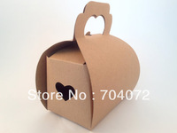 free shipping 20pcs Heart Kraft Gift Boxes - Treat Box, Favor Box, Packaging, Cake Box, Supply