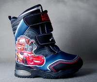 Child boots male medium-leg thermal blue velcro cartoon car pattern plus velvet slip-resistant