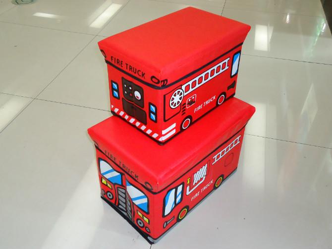 Free Shipping 2014 Small Size Red Fire Truck PU Folding Storage Chair Storage Box for Kids(China (Mainland))