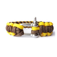 550 paracord cord bracelet shackle / survival /desert camouflage/Custom color/brown and yellow